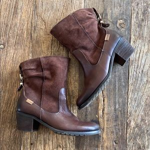 PIKOLINOS Shoes - Pikolinos Brown Suede & Leather Zipper Buckle Boot